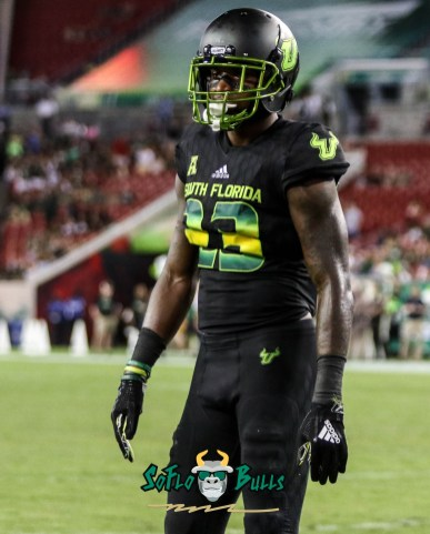 172 - USF vs. UConn 2018 - USF DB Mazzi Wilkins by Will Turner | SoFloBulls.com (2418x3004) - 0H8A9238