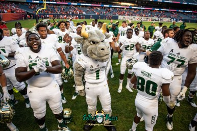 173 - USF vs. Illinois 2018 - USF Football Mascot Rocky D. Bull with Demetrius Harris Terrence Horne Marcus Norman and other players at Soldier Field by Dennis Akers | SoFloBulls.com (5875x3922)