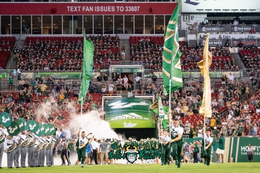 23 - USF vs. ECU 2018 - USF Football Team Running out of Tunnel at Raymond James Stadium Background Image by Dennis Akers | SoFloBulls.com (3940x2630)