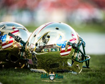 76 - Tulane vs. USF 2018 - USF Football Salute to Serice Gold American Flag Helmets on Raymond James Field by Dennis Akers | SoFloBulls.com (5020x4016)