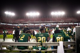 115 - Marshall vs. USF 2018 - USF RB Johnny Ford Jordan Cronkrite Terrence Horne on bench by Dennis Akers | SoFloBulls.com