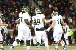 16 – USF vs. Cincinnati 2018 – USF TE Mitchell Wilcox Hal Roberson Billy Atterbury by Will Turner – SoFloBulls.com – 0H8A0999