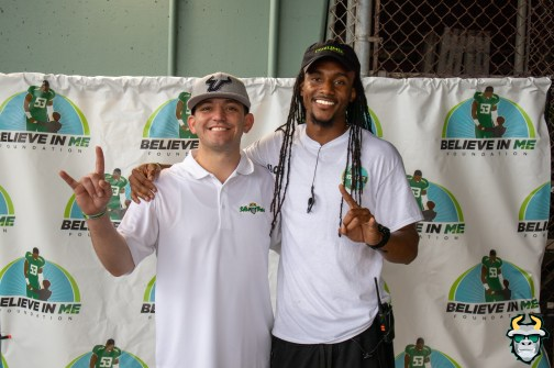 30 - 2019 Believe In Me Foundation Football Camp - SoFloBulls.com Owner Matthew Manuri with Dez Horne