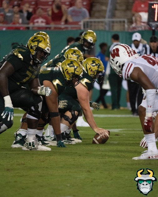 126 - Wisconsin vs USF 2019 - USF OL Marcus Norman Donovan Jennings Brad Cecil by David Gold - DRG06857