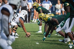 28 - USF vs Georgia Tech 2019 - DE Greg Reaves and the USF DL by David Gold - DRG00466