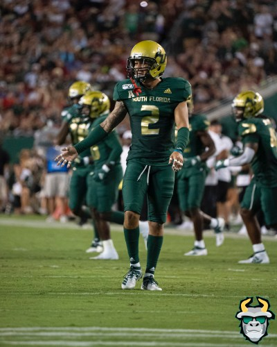 62 – Wisconsin vs USF 2019 – USF DB Nick Roberts by David Gold – DRG05632