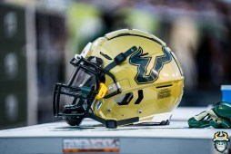 84 - BYU vs USF 2019 - USF Football Helmet Gold Throwback by David Gold - DRG00936