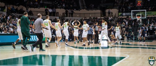 19 - UConn vs. South Florida Men's Basketball 2020 - Bulls Team on the court at the Yuengling Center Panorama - DRG08883