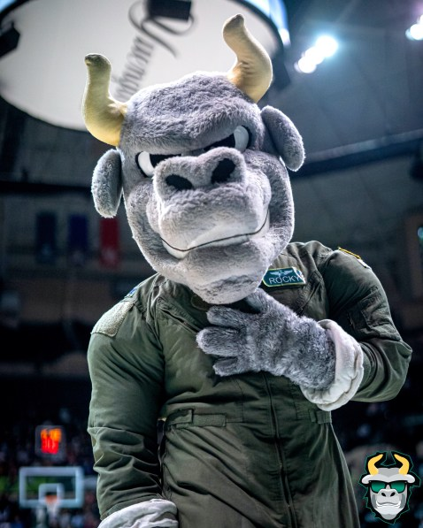 9 - UConn vs. South Florida Men's Basketball 2020 - Bulls Mascot Rocky D. Bull Salute to Service Uniform - DRG08572