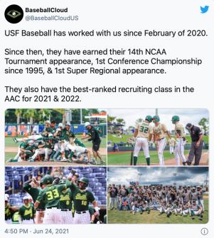@BaseballCloud USF Baseball Milestones Tweet