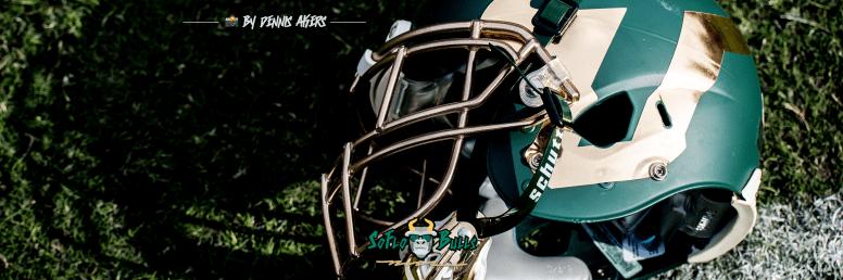 69 - USF vs. UCF 2016 - USF Green Football Helmet on Field #WarOnI4 Twitter Cover Image by Dennis Akers - SoFloBulls.com FINAL (2999x999)