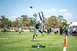 79 - USF Spring Game 2018 - USF WR Randall St. Felix Nick Roberts by Dennis Akers - SoFloBulls.com (4522x3019)
