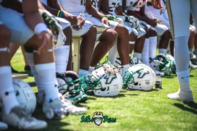 97 - USF Spring Game 2018 - USF White Helmets on Field by Dennis Akers - SoFloBulls.com (6016x4016)
