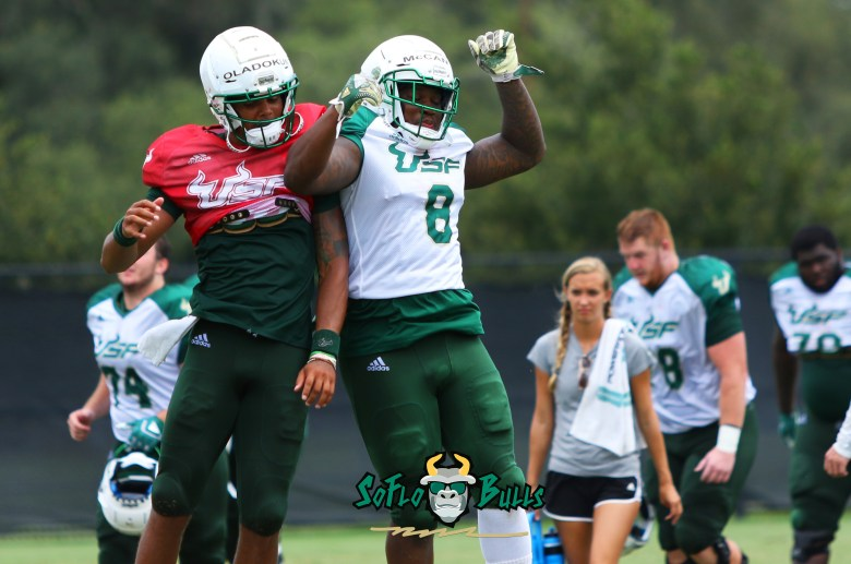 USF Football Fall Camp Notes 2018 - Day 11 - Tyre McCants and Chris Oladokun - by Will Turner - SoFloBulls.com (3183x2111)