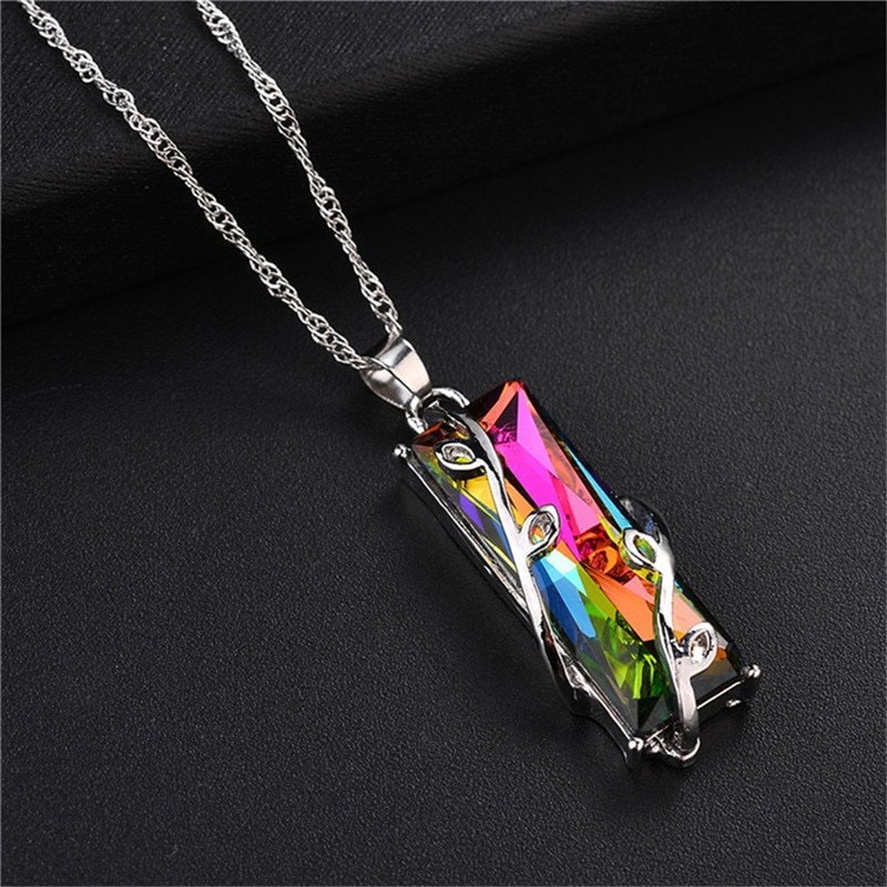 Rainbow Stone Tree Of Life Pendant Necklace For Women Men Long Chain Crystal Glass Leaves Square Necklaces Statement Jewelry