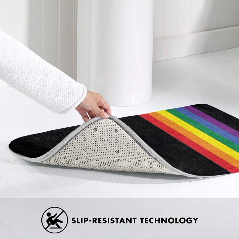 Rainbow Pride Lgbt Strip Mat Rug Carpet Anti-Slip Floor Mats Bedroom Rainbow Pride Lgbt Strip Gay Pride Lesbian Lgbtq Ricaso