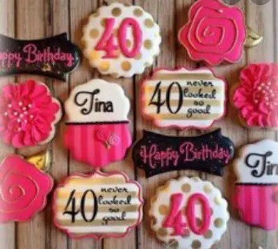 personalized cookies, 40th birthday, happy birthday