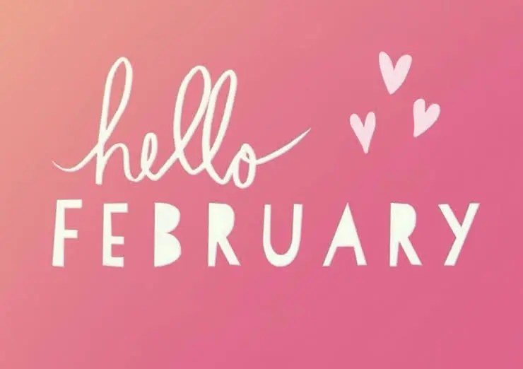 White hello February text on a ombre Pink background