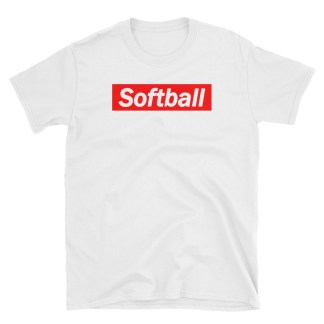 Softball White On Red Fastpitch T-Shirt