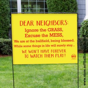 softball yard sign