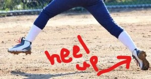 This pitcher can move faster because her toe is down and heel up.