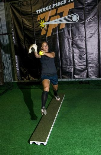 Pitcher strides on pitching plank.