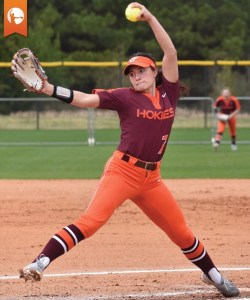 Jordan Dail, Virginia Tech is using proper arm circle mechanics and remains palm up at the top of her circle.