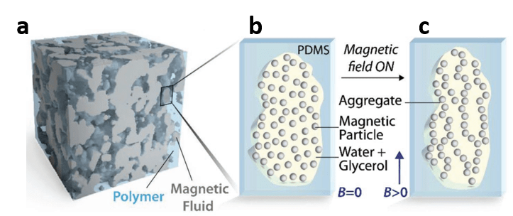 3D visualization of the material and 2D slices of that visualization with and without magnetic field