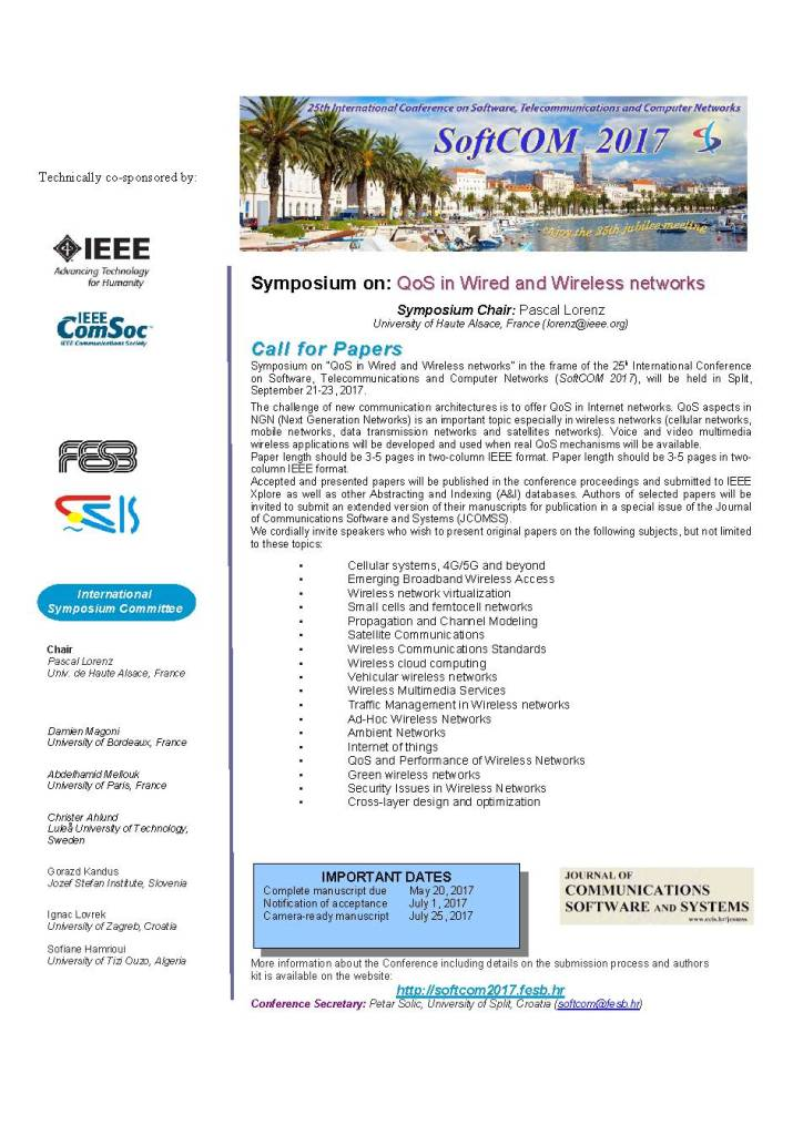 Call for Symposium on QoS in Wired and Wireless networks