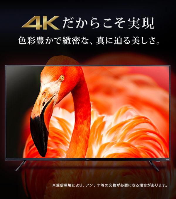 アイリスオーヤマのテレビLUCA【4Kチューナー内蔵テレビ】5