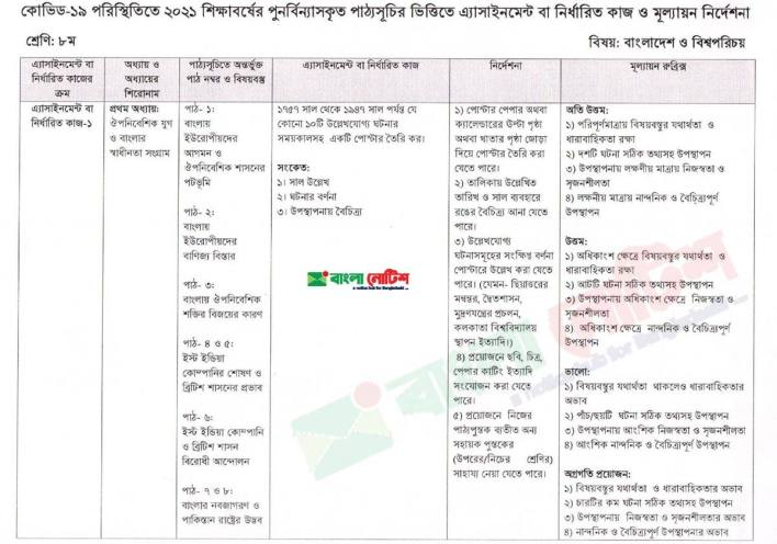 Class Eight 2nd week Bangladesh and Global Studies BGS assignment 2021 JPG and PDF