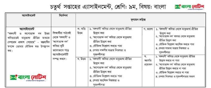 Bangla Assignment Question