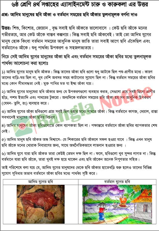 Arts and Craft Assignment Answer for Student of class 6 for 4th Week