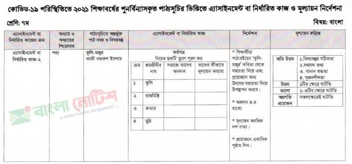 Class 7 Assignment 2021 5th Week Bangla