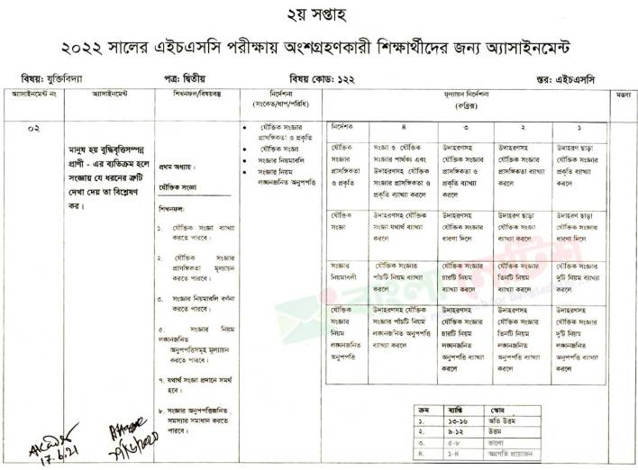 Class 12 Assignment 2nd Week Logic 2nd Paper for HSC Examination 2022