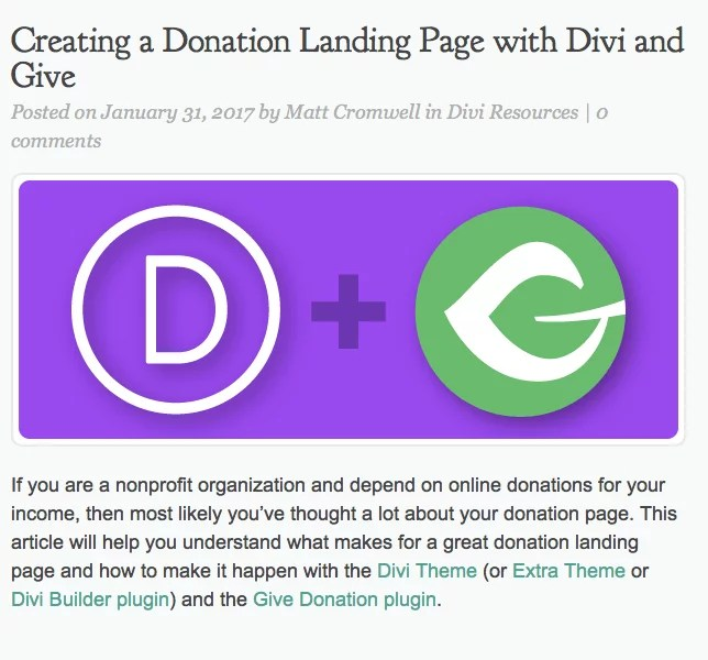 Blog Article on Creating a Donation Landing Page w Divi & Give