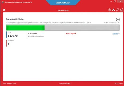 Zemana AntiMalware Scanning System