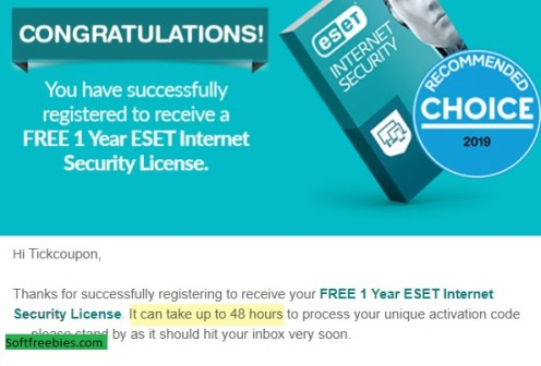 ESET internet seccurity confirmation