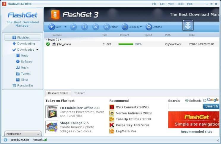 FlashGet Download Interface