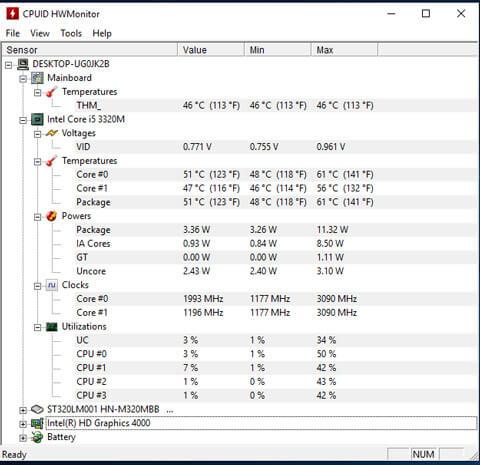 HWmonitor PC temp