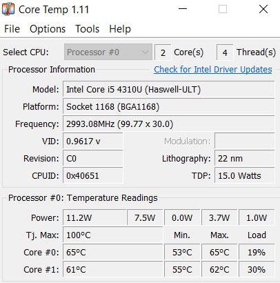 Check CPU temp