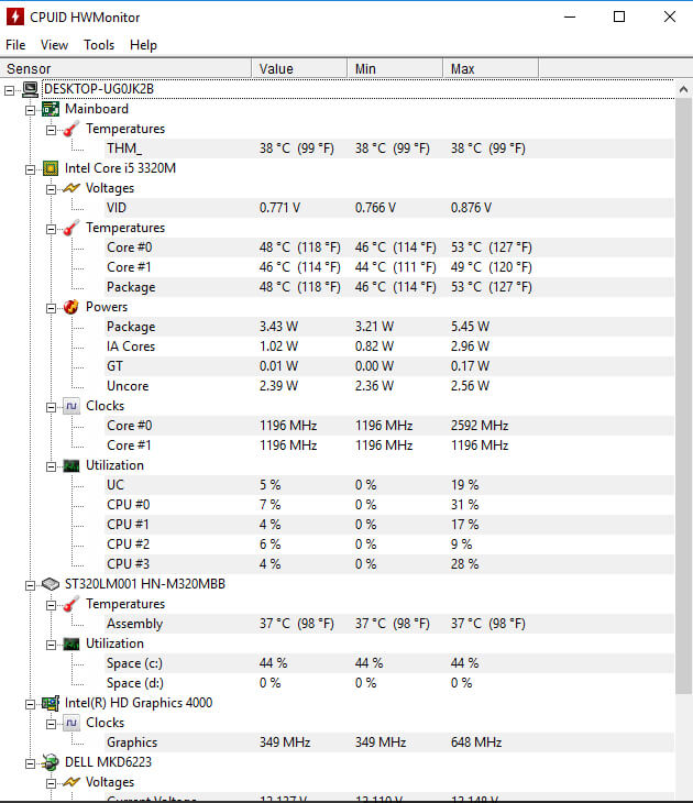 computer temperature monitor windows 10