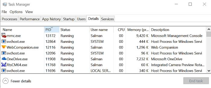 WMI Provider Host task manager