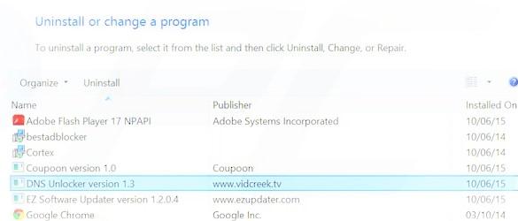 DNS Unlocker removal tool