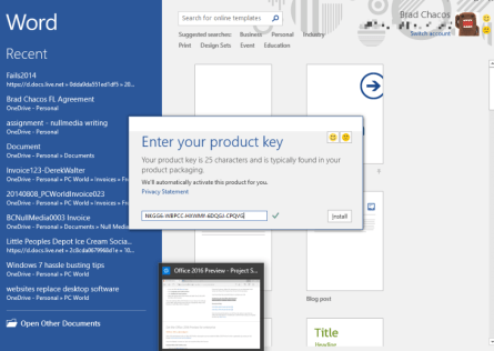 office 16 activation without product key