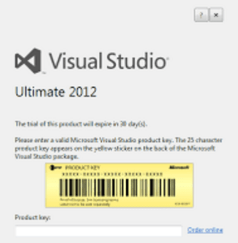 Visual studio 2012 Product Key