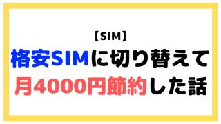 面倒だったけど格安SIMに切り替えて月4000円節約した話【体験談】