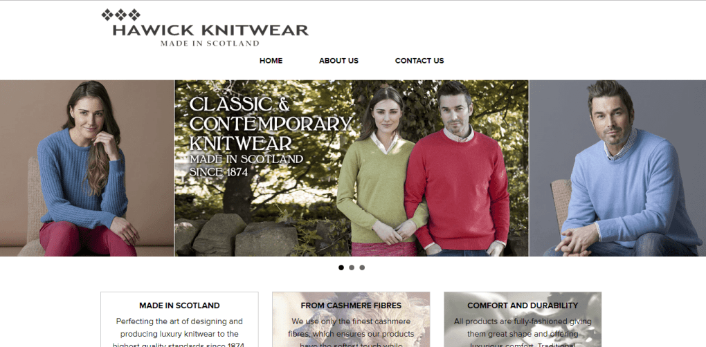 hawick knitwear website screenshot