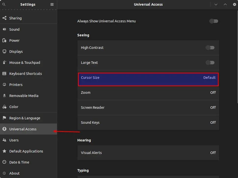 increase cursor size ubuntu