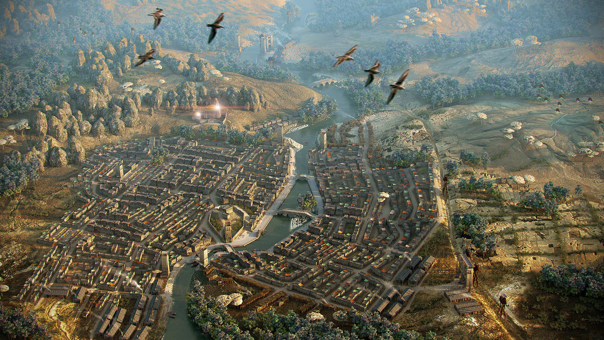 A view of the Morrowind city of Balmora as a city of significant size